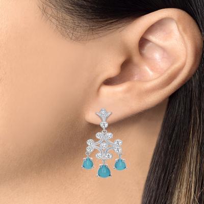 Sterling Silver Emerald Chandelier Earrings