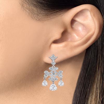 Sterling Silver Red Chandelier Earrings
