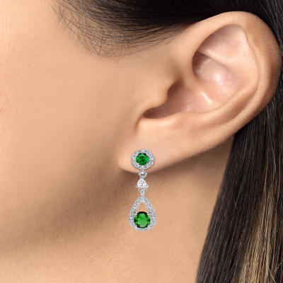 Sterling Silver Emerald Dangling Earrings