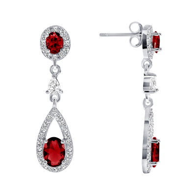 Sterling Silver Red Dangling Earrings