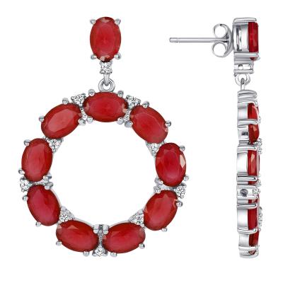 925 Sterling Silver Emerald Oval Earrings