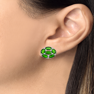 Sterling Silver Fancy Flower Emerald Earrings