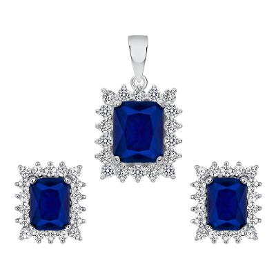 Sterling Silver Sapphire Matte Glass Set