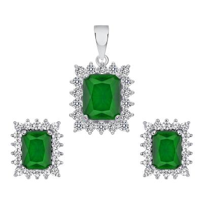 Sterling Silver Emerald Matte Glass Set