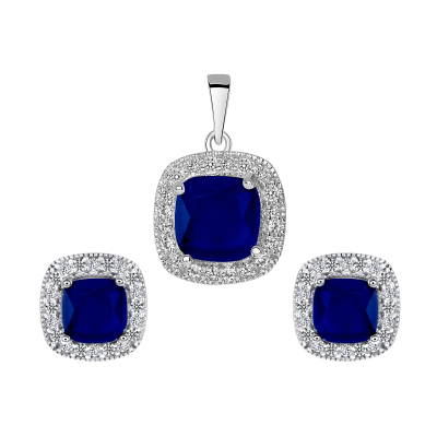 Sterling Silver Square Sapphire Matte Glass Set