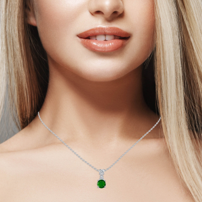 Sterling Silver Circle Emerald Matte Glass Pendant