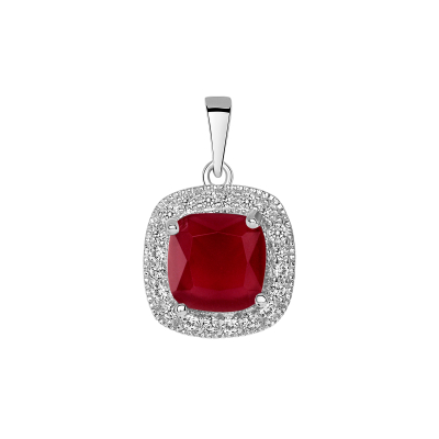 Sterling Silver Square Ruby Matte Glass Pendant