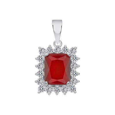 925 Sterling Silver Ruby Matte Glass Set