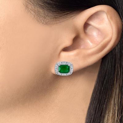 Sterling Silver Sapphire Matte Glass Earring