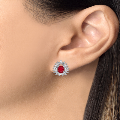 Sterling Silver Ruby Matte Glass Tear Earring