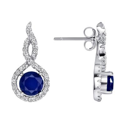 Sterling Silver Ruby Matte Glass Earring