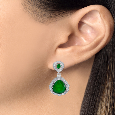 Sterling Silver Emerald Pear Shape Drop Earrings
