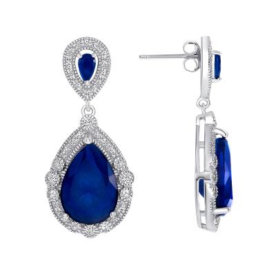 Sterling Silver Sapphire Pear Shape Drop Earrings