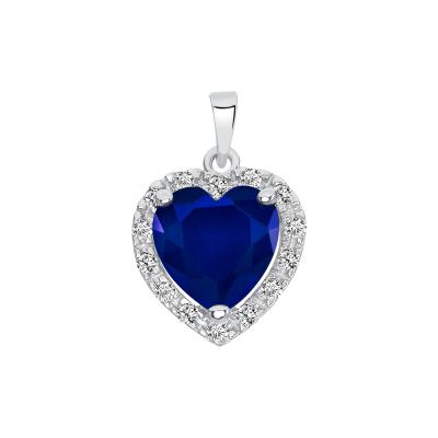 Sterling Silver Heart Emerald Matte Glass Set