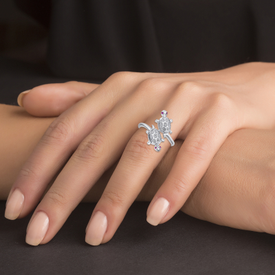 Sterling Silver Double Turtle Endless Ring