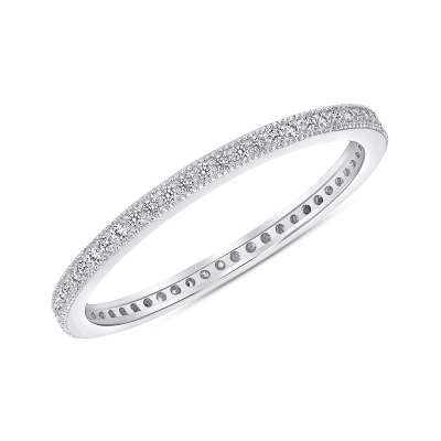 Sterling Silver Pave Band