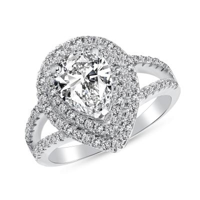 Sterling Silver Pear Shape Cut Ring