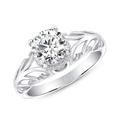 Sterling Silver Wave Design Engagement Ring