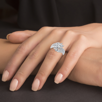 Sterling Silver Leave Engagement Ring