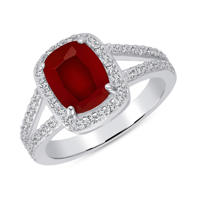 Sterling Silver Ruby Matte Glass Ring