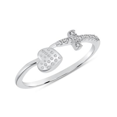 Sterling Silver Side Cross & Heart Ring