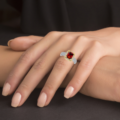 Sterling Silver 2 Tone Ruby Matte Glass Ring