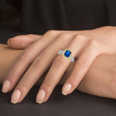 Sterling Silver 2 Tone Sapphire Matte Glass Ring