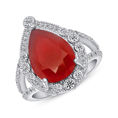 Sterling Silver Pear Shape Ruby Ring