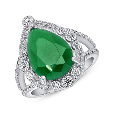 Sterling Silver Pear Shape Emerald Ring