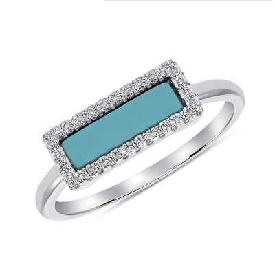 Sterling Silver Turquoise Rectangular Ring