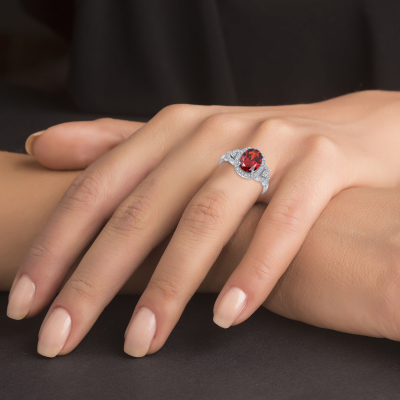 Sterling Silver Halo Style Sapphire Ring
