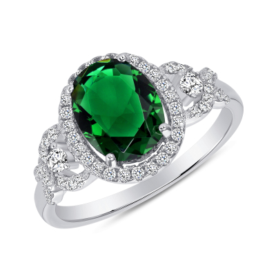 Sterling Silver Halo Style Emerald Ring