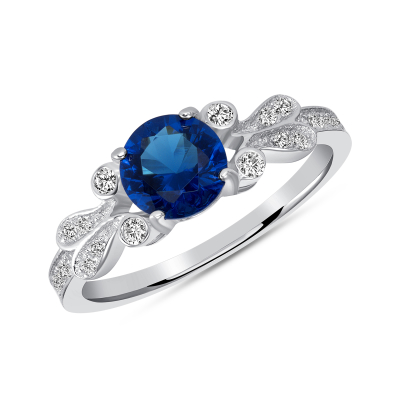 Sterling Silver Round Sapphire Solitaire Ring