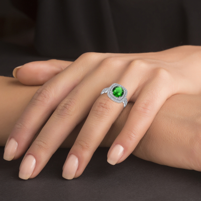 Sterling Silver Fancy Emerald Ring