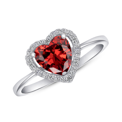 STERLING SILVER HEART RUBY RING