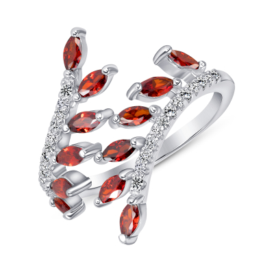 Sterling Silver Ruby Endless Leaves Ring