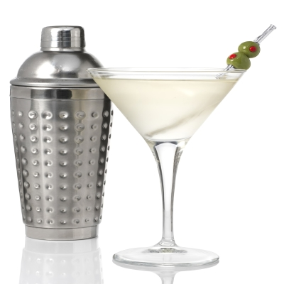 Silver Martini Straw With Hand-Blown Glass Olives