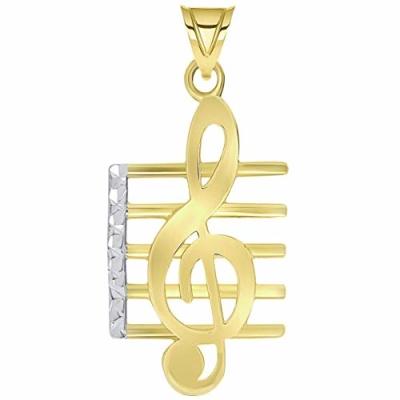 14k Gold Textured G Clef M Pendant