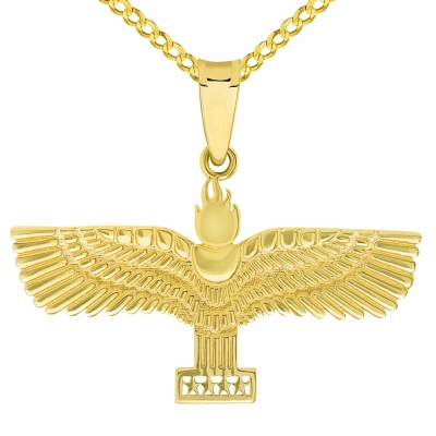14k Yellow Gold Aramean-Syriac Flag Symbol Pendant with Cuban or Figaro Chain Necklaces