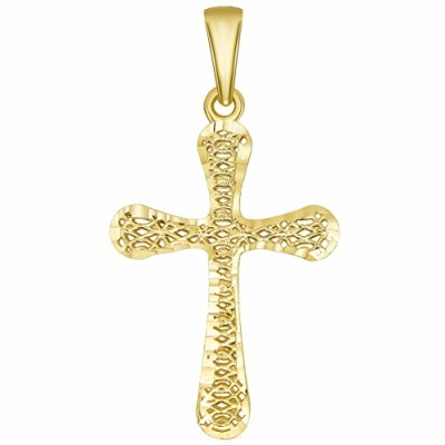 3d cross pendant in gold