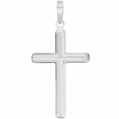 White Gold Traditional Religious Plain Cross Pendant