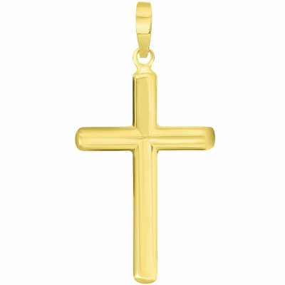 Yellow Gold Traditional Religious Plain Cross Pendant