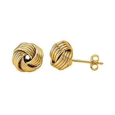 14k Yellow Gold Twisted Love Knot Stud Earrings