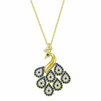 """Jewelry America 14k Yellow Gold Peacock Evil Eye Charm Pendant Necklace 16""""+2"""" Extender with Cubic Zirconia"""