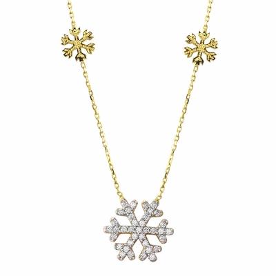 14k Yellow Gold Snowflake Charm Pendant