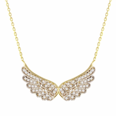 14K Yellow Gold Angel Wings Pendant Necklace