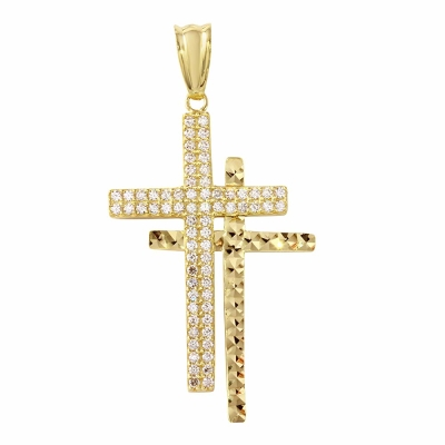 Polished 14K Gold Double Cross Crucifix Charm Pendant with Cubic Zirconia