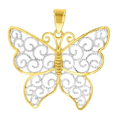 14K Gold Two Tone Butterfly Pendat