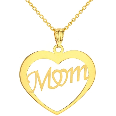 14k gold mom necklace | 14K Yellow Gold Mom Pendant Necklace