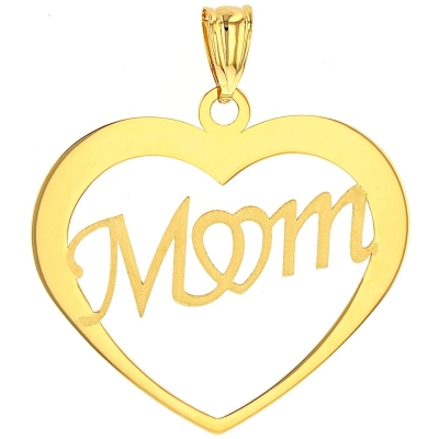14K Yellow Gold Simple Heart with Mom Pendant